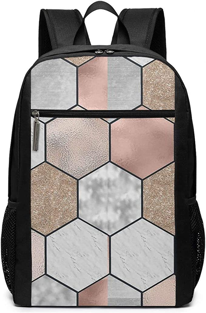 School Multifunctional Backpack Diaper Bag etc Rose Gold Marble Geometric Design Hiking