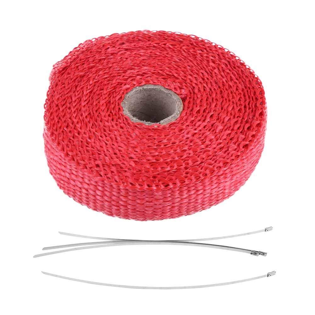 Qiilu Fiberglass Heat Shield Exhaust Pipe Insulation Tape Thermal HHeat Wrap with 4 Stainless Steel Cable Ties Red Stainless Ties 1 Inch x 16.5 ft