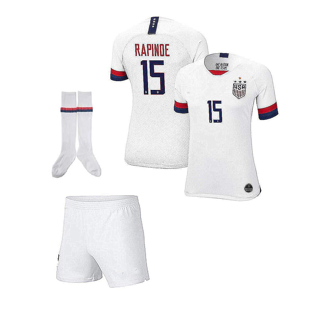 LiyiuEETY Player Jersey 2019//2020 Rapinoe #15 USA Home Soccer Jersey Shorts /& Socks for Lucky Boys