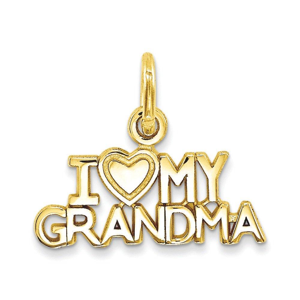 14K Yellow Gold I Love My Grandma Charm Pendant