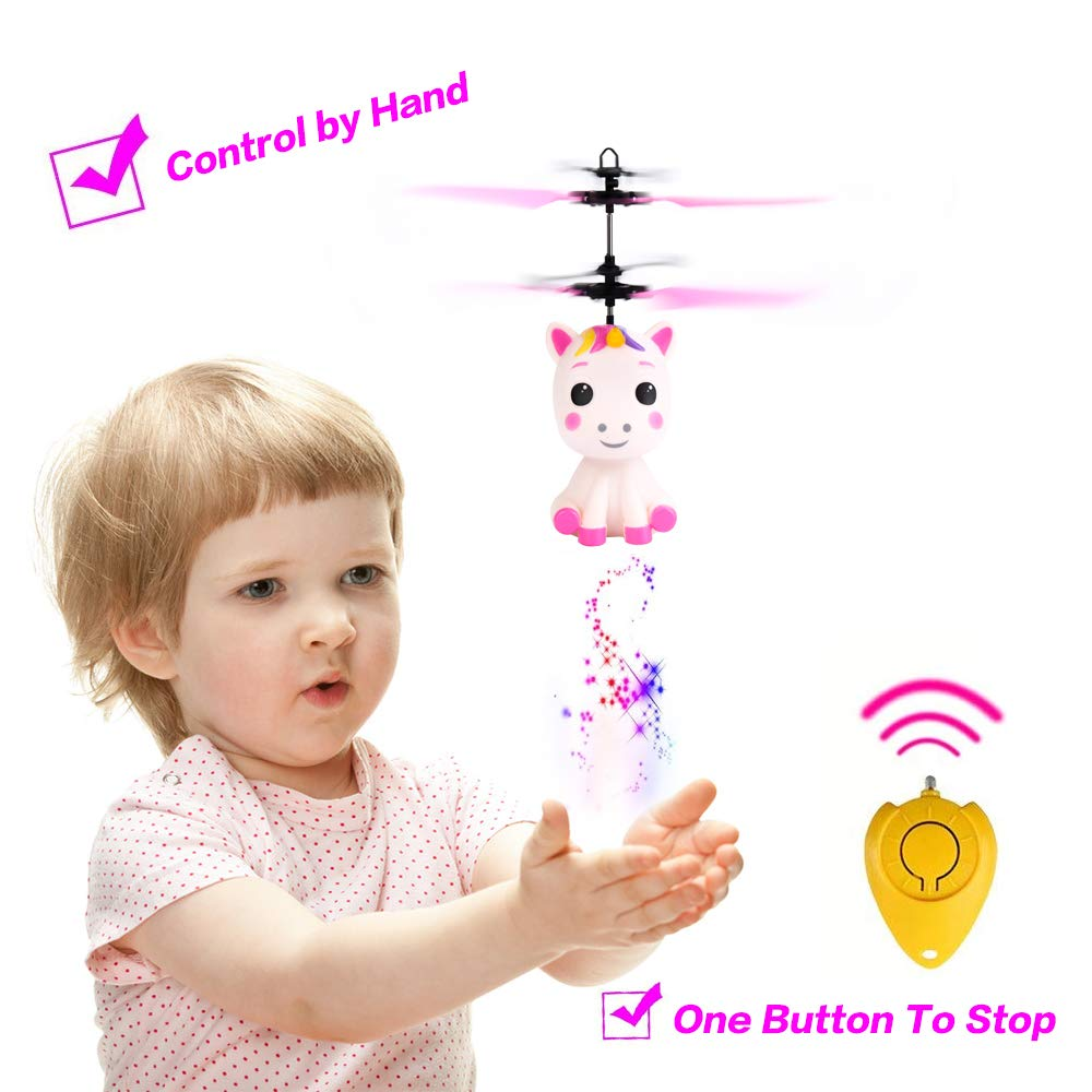 Flying Unicorn Toys Flying Fairy Toys for Girls Flying Ball RC Helicopter with Remote Control Hand Controlled Horse Unicorn Birthday for 3 4 5 6 7 8 9 Year Old Girls Boys Kids by GearRoot (Image #2)