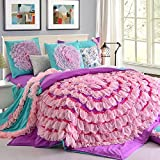LELVA Sky City Purple Duvet Cover Set Princess Bedding Girls Bedding Women Bedding Gift Idea, Full/ Queen Size,6pcs (Bed Skirt, Queen)