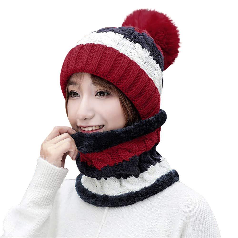BSGSH Winter Beanie Hat Scarf Set Warm Knit Hat Pom Pom Skull Cap for Men Women (Wine Red)