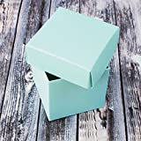 "Mini Small Square Cube Robins Egg Blue Gift Boxes with Lids for Party Favors, Decoration, Weddings, Birthdays, and more. 2"" x 2"" x 2"" in Size. (10 Pack)"