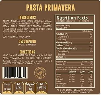 Valley Food Storage (5 porciones de Pasta Primavera (Paquete de 2) – Bolsas de Suministro de Alimentos Secos congelados, para Acampada y preparación ...