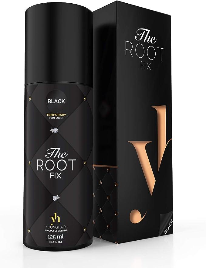 YoungHair The Root Fix - Spray de retoque de raíz para una cobertura rápida y fácil de las canas - NEGRO 125 ml