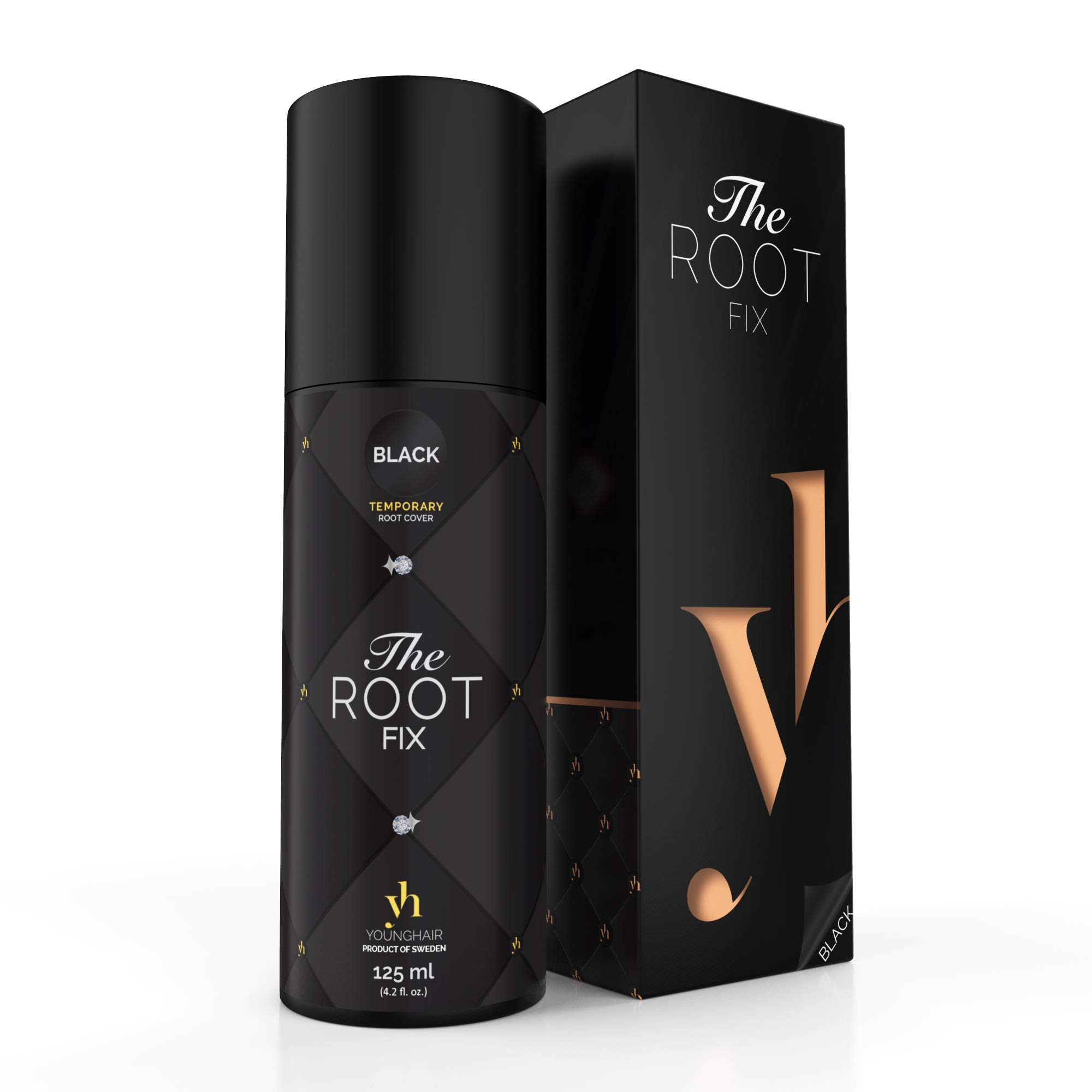 YoungHair The-Root-Fix Home Retouch Root-Touch-Up-Spray Temporary Black 125ml