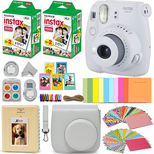 Fujifilm Instax Mini 9 Instant Camera WHITE + Fuji INSTAX Film (40 Sheets) + Accessories Kit Bundle + Custom Case with Strap + Assorted Frames + Photo Album + 60 Colorful Sticker Frames + MORE by HeroFiber
