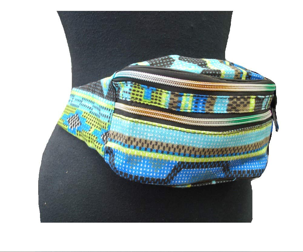 Multi Blue 2 Way Print Fashion Crossbody Waist Belly Bag Festival Fanny Pack 90s Vintage