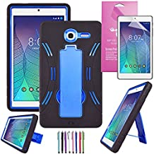 Alcatel Onetouch Pop 7 LTE Case, EpicGadget(TM), Heavy Duty Hybrid Case Full Protection Cover with Kickstand For One Touch Pop 7 LTE 9015W 9015B + 1 Screen Protector + 1 Stylus (Black/Blue)