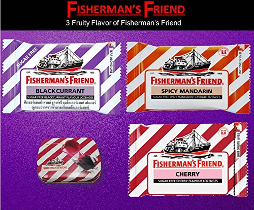 - Fisherman's Friend Lozenges 3 Fruity Flavor (Blackcurrant and Spicy Mandarin and CherryFlavors With 1 collectibles Tin boxes) Fresh breath and Extra Strong Cough Suppressant Lozenges