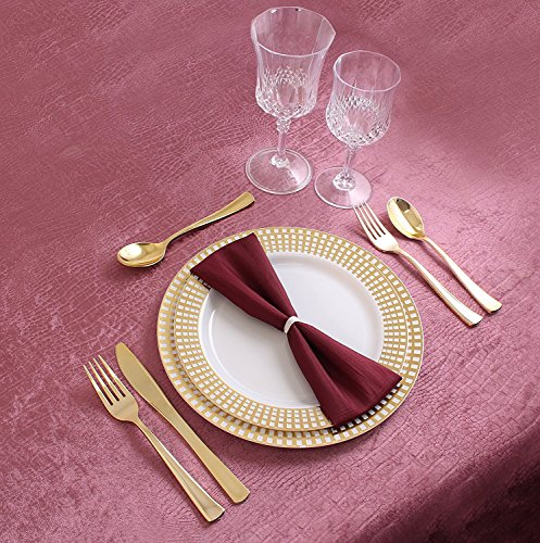 Disposable Plastic Plates | Premium Quality White Gold Dinnerware With Gold Checkerboard Border | Excellent for Weddings, Bridal Showers, Engagement Parties & More | 10.25 Inch Plate | 40 Count -