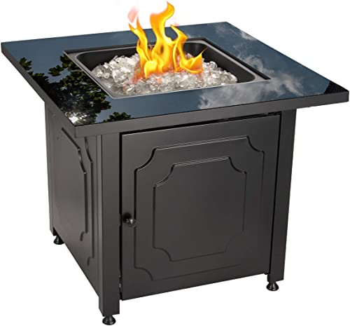 Endless Summer 30″ Outdoor Propane Gas Black Glass Top Fire Pit White Fire Gla
