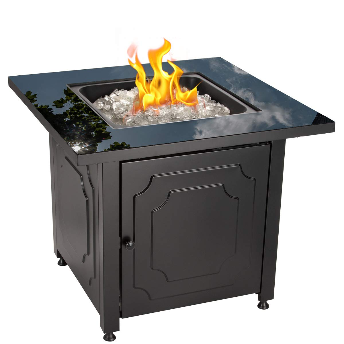Blue Rhino Outdoor Propane Gas Fire Pit with Black Glass Top and White Fire Glass – Add Warmth and Beauty to Your Backyard