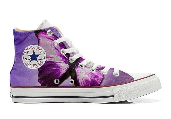 Converse All Star Hi Customized personalisiert Schuhe (gedruckte Schuhe) Farfalla Schmetterling