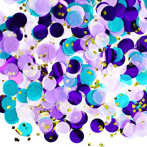TecUnite Round Tissue Paper Table Confetti Dots for Mermaid Birthday Party Decoration, 1.76 oz (Purple Teal Confetti) -
