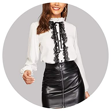 e03203968c34c9 Image Unavailable. Image not available for. Color: White Tie Neck Buttoned  Lace Trim Keyhole Back Blouse Elegant Frill Stand Collar Long Sleeve Tops