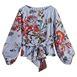 urban outfitters thermal - Waist Tie Blouse,Toimoth Women Autumn Lantern Sleeve Belted Mixed Striped Long Sleeve Tops Floral Blouse(Blue,XL)