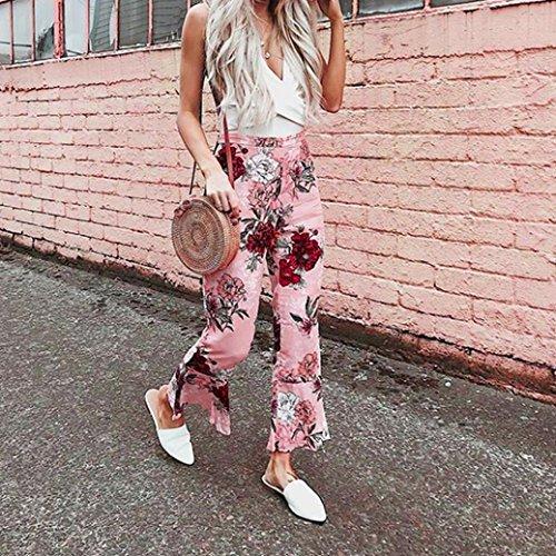 Large Florsle Casual Volant Rose Jambe Pantalons Femme Pantalons Palazzo Imprim Basique Floral SANFASHION Taille Noir Chic Haut PvaOqPwf