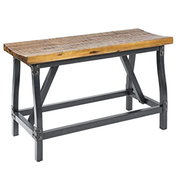 Industrial Rustic Wood And Metal Counter Height Gathering Dining Bench    Includes Modhaus Living Pen