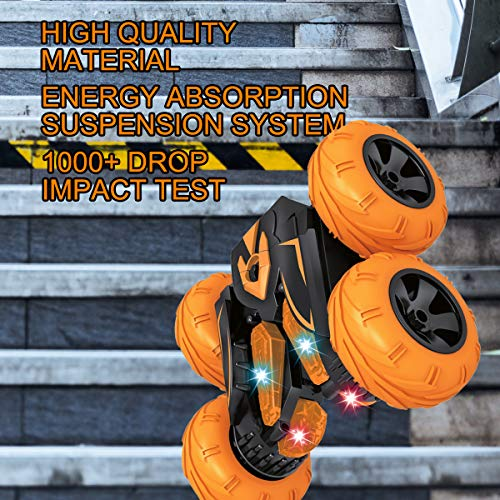VAZILLIO Remote Control Car for Kids, Tornado RC Stunt Car Toy, Double Sided 360° Rotate, Spin, Flip Stunt RC Cars High…