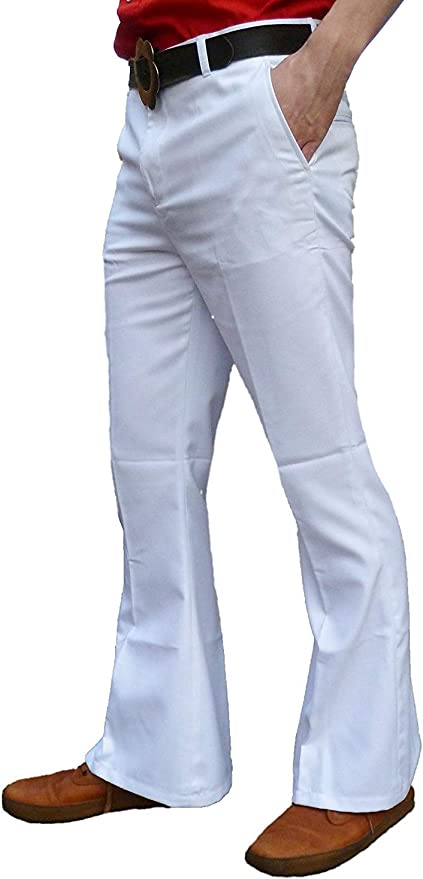Men's Vintage Pants, Trousers, Jeans, Overalls Fuzzdandy Mens White Bell Bottoms Flares Trousers Flared 60s 70s Disco Hippie Pants £35.90 AT vintagedancer.com