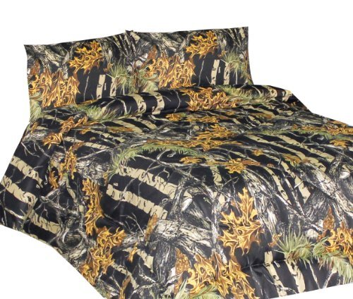 THE WOODS Premium Microfiber CAMO Sheet Set (Orange, King)