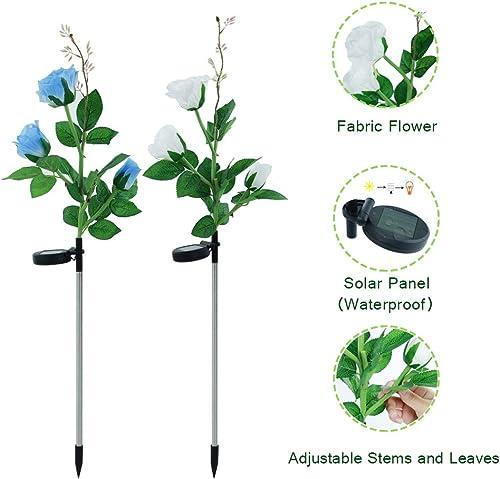 Solar Flower Lights,Solar Garden Stake Lights Outdoor with 6 Rose Flowers, LED Solar Decorative Lights for Garden,Patio,Backyard White Blue 2 Pack