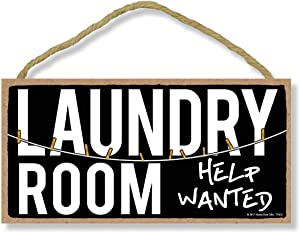 Laundry Room Help Wanted - 5 x 10 inch Hanging, Wall Art, Decorative Wood Sign Home Decor