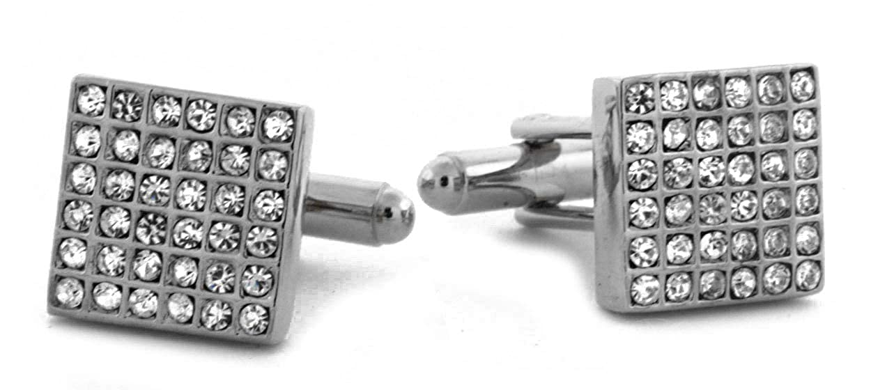 14K GD PT Lab-Diamond Iced Premium Micro Paved Formal Wedding Pair French Square Cufflinks for Men and Boys