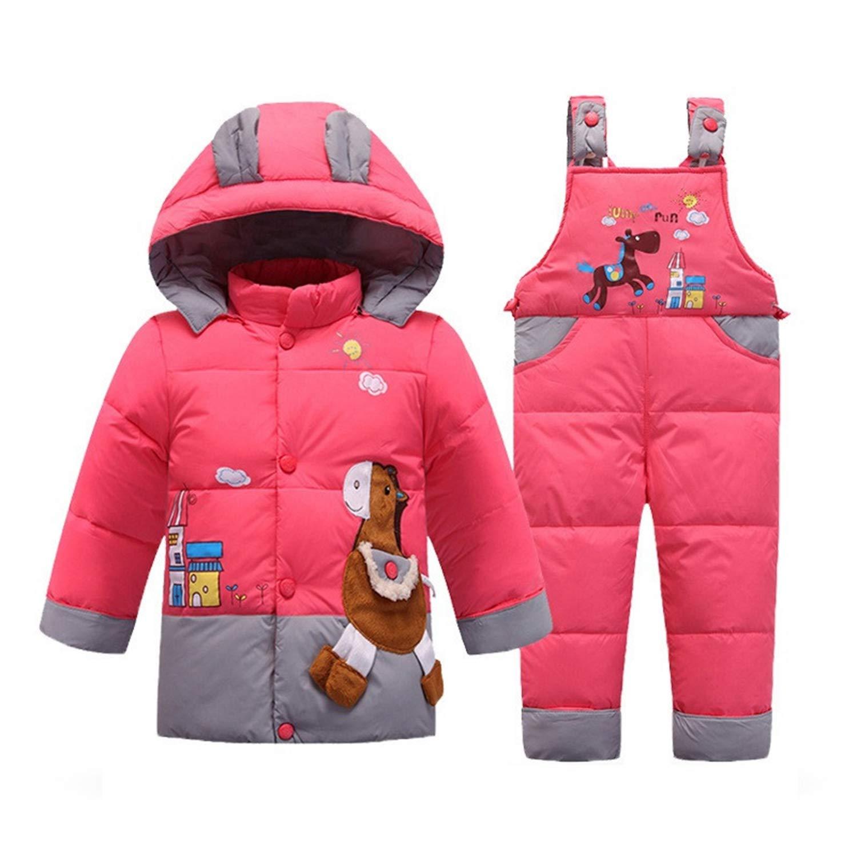 30 Degree Clothes Set Aancy Kids Duck Down Jacket Set New Warm Winter Trojan Pattern Snowsuit+Romper for Baby Boys Girls