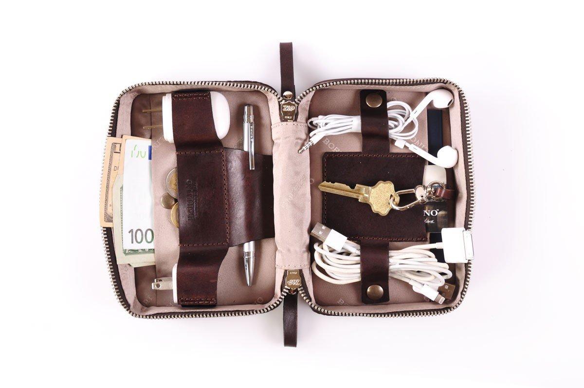 Buffalo / Vachetta Carryall Travel Kit (Walnut) by Borlino (Image #5)