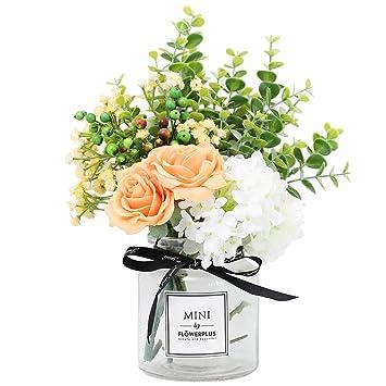 Amazon.com: Flores artificiales nubry rosas de seda falsas ...