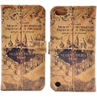 Unique! Hogwarts Marauders Map Vintage Retro Pattern Leather Wallet Credit Card Holder Pouch Flip Stand Case Cover For Apple ipod Touch 5 5th Touch 6 New