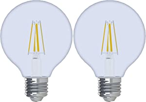 GE Lighting 92252 Reveal HD LED 3.2 (40-watt Replacement), 240-Lumen G25 Light Bulb with Medium Base, 2-Pack