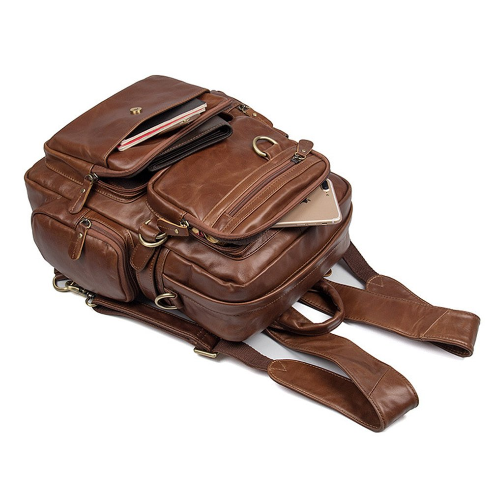 MuLier Sling Backpack Men Genuine Leather Bag Crossbody Shoulder Bag For Men by MuLier (Image #5)
