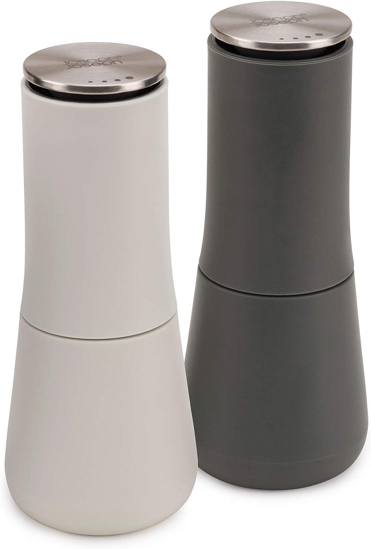 Joseph Joseph - 95036 Joseph Joseph Milltop Salt and Pepper Grinder Set with Adjustable Grind Size Coarseness, Dark Gray/White, 2-piece