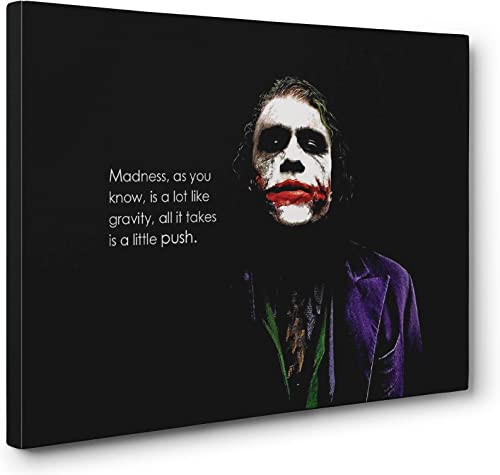 The Joker Madness Heath Ledger Gallery Canvas Wall Art Ready to Hang 24x36in. Large
