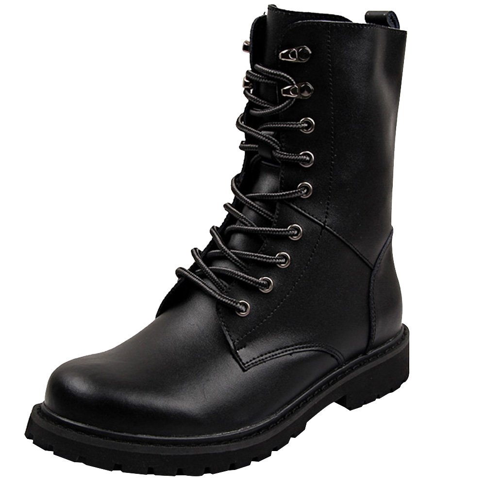 Jamron Women Mid-Calf Split Leather Boots Flat Non-Slip Combat Boots Motorcycle Boots Big Size Black SN02913 US6.5