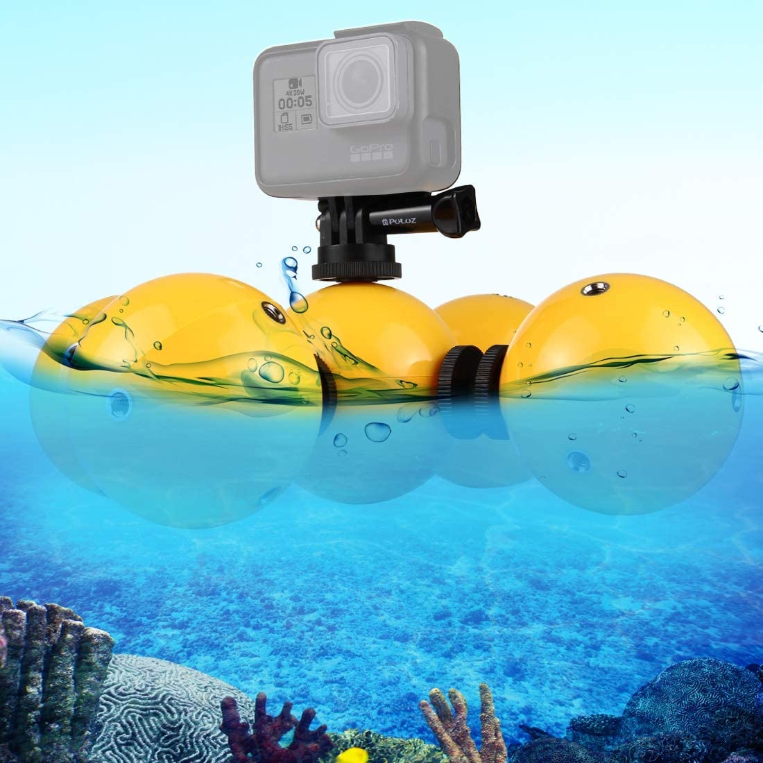 5 PCS Diving Floaty Bobber Ball with Safety Wrist Strap /& 4 x Connection Mount /& Tripod Adapter /& Long Screw /& Wrench for GoPro HERO6 //5 //5 Session //4 Session //4 //3 Xiaoyi and Other Action //3 //2 //1