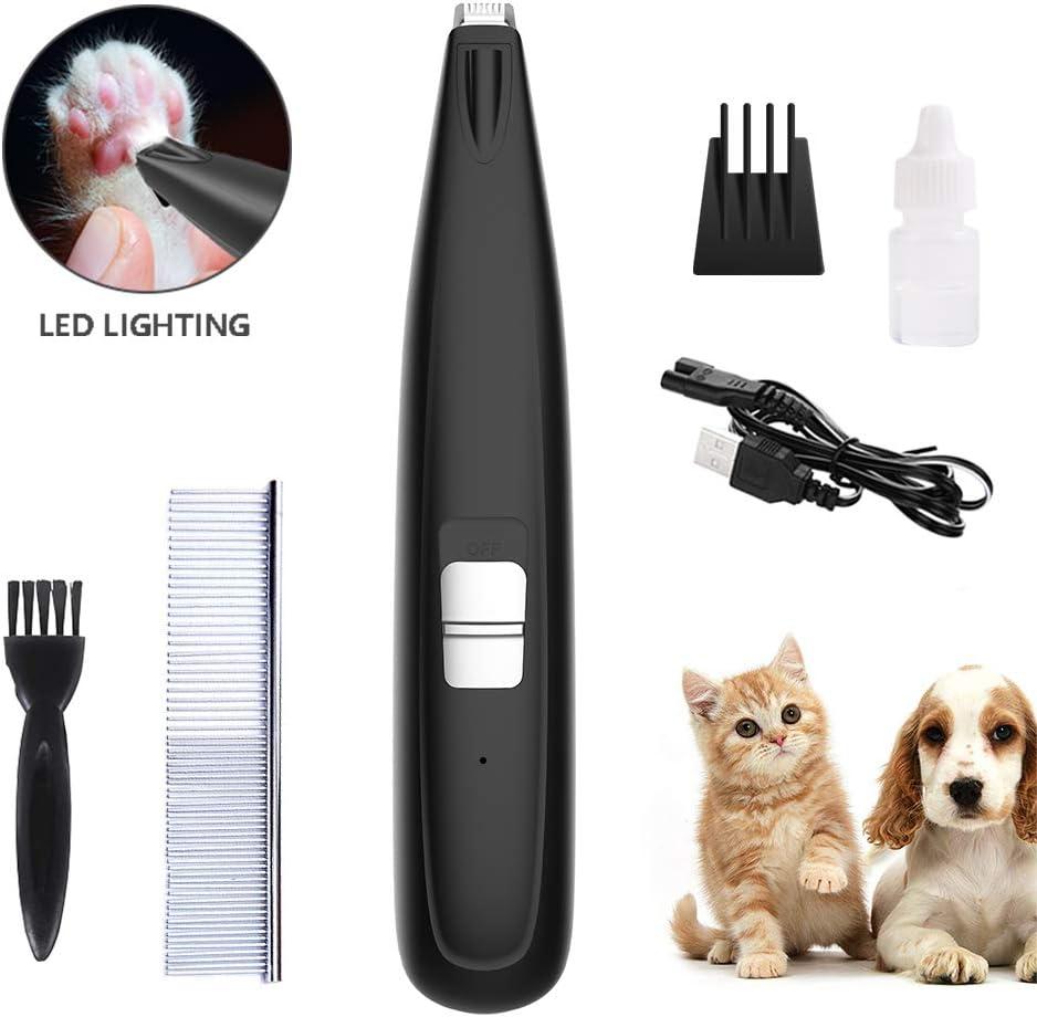 XIAPIA Cortapelos Perros Profesional Maquina de Cortar Pelo para Perros y Gatos Mascotas Diseño USB 2 Velocidades Opcional de Bajo Ruido con Cepillo Quita Pelos