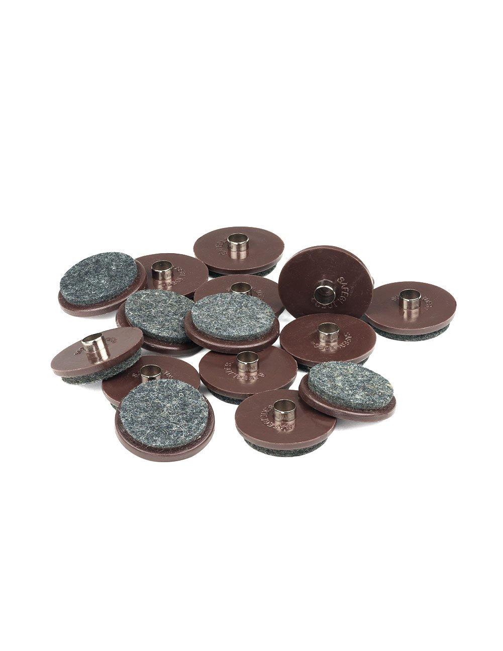 1 1/2 INCH DIAMETER FELT GLIDER - BROWN, 8 PIECE PACK