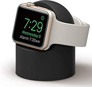 PROATL iWatch Charging Stand with Nightstand Mode, Silicone Charger Dock Holder for Apple Watch Series SE/6/5/4/3/2/1(44/42/40/38mm)【Adapters OR Cables NOT Included】(Black)