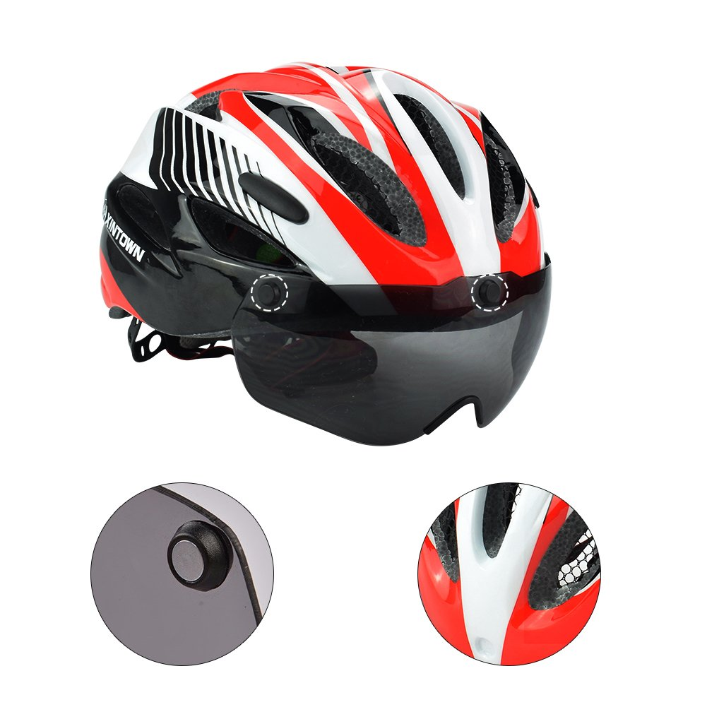 Micnaron Road Bike Helmet, Cycling Airflow Helmet Detachable Goggles Adjustable Shield Visor by Micnaron (Image #4)