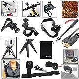 EEEKit 7-in-1 Sports Solution Kit for Sony Action Cam HDR-AS15/AS20/AS30V/AS100V/AS200V/AZ1 Mini/Sony FDR-X1000VW 4K,Shoulder/Bike/Helmet/Car Sun Visor/Selfie Stick Pole/Tripod Mount+Micro HDMI Cable