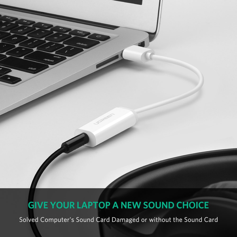 UGREEN USB Sound Card External Converter USB Audio Adapter with 3.5mm Aux Stereo for Headset, PC, Laptops, Desktops, PS4, Windows, Mac, and Linux White by UGREEN (Image #2)