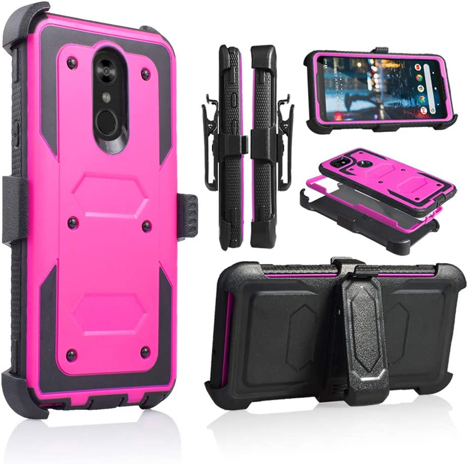 LG Stylo 4 Rugged Case, [360 Degree Protection] [Kick-Stand] Full-Body Heavy Duty Case with [Built-in-Screen Protector] [Belt Clip Holster] for LG Stylo 4 (Purple)