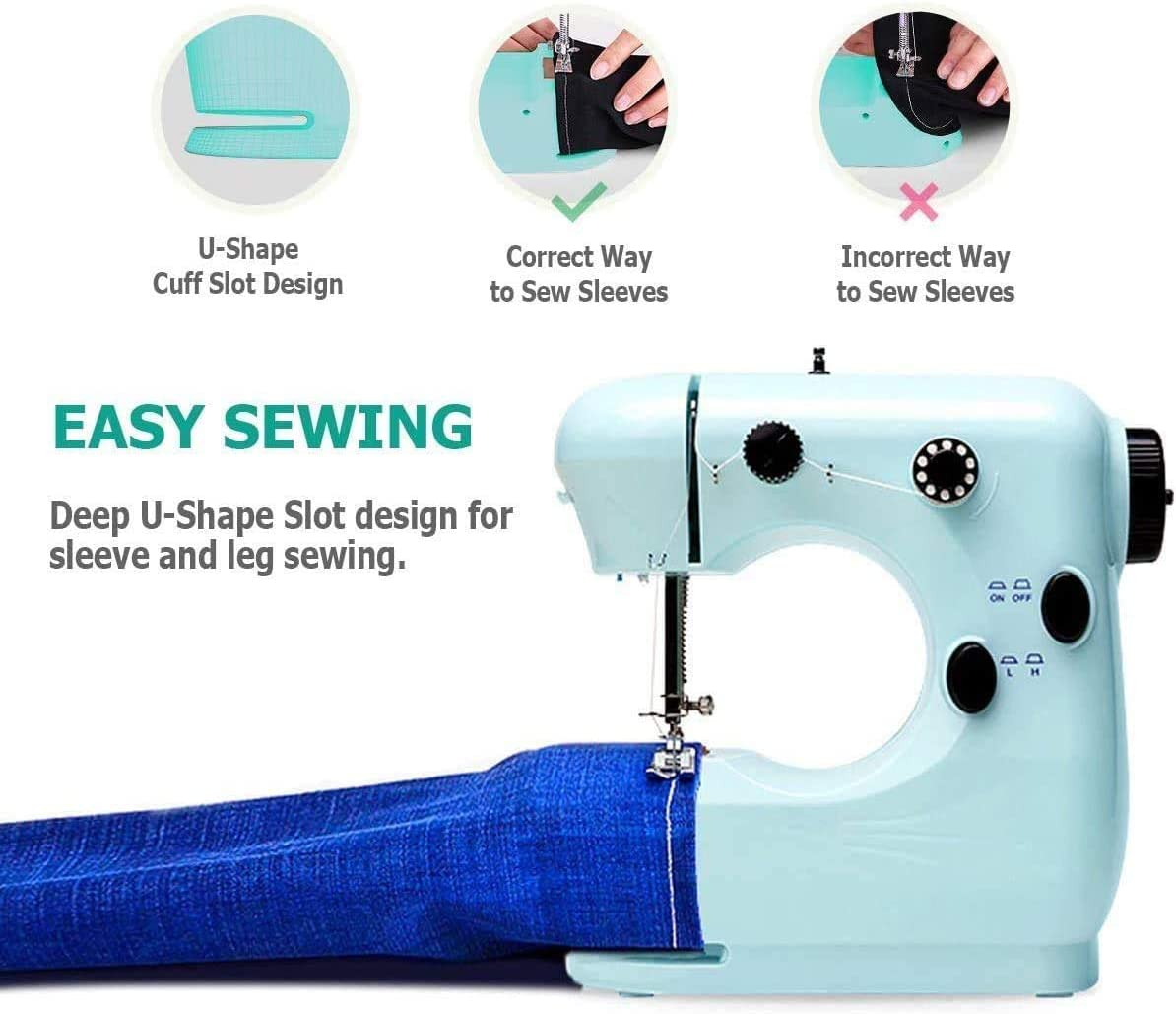 Fit Many Fabrics,for Beginners Kids DIY Electric Sewing Machine,Adjustable 2-Speed Repair Machine with Foot Pedal,Household Multi-Function Mini Sew Machine Blue TPSKY Portable Sewing Machine