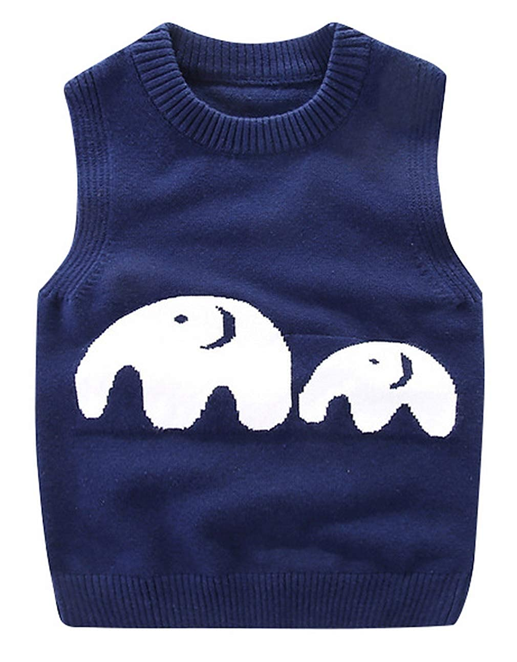 La Vogue Infant Boys Knitted Vest Sweater Cute Cartoon Casual Round Neck Sleeveless Jumpers Knitwear Tank Top