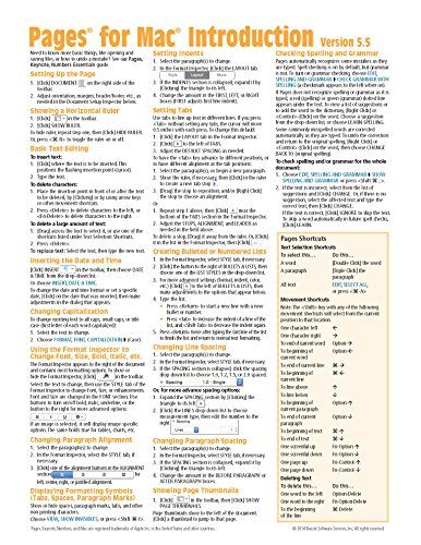 Pages for Mac Quick Reference Guide, version 5.5 or 5.6 Introduction (Cheat Sheet of Instructions, Tips & Shortcuts - Laminated Card)